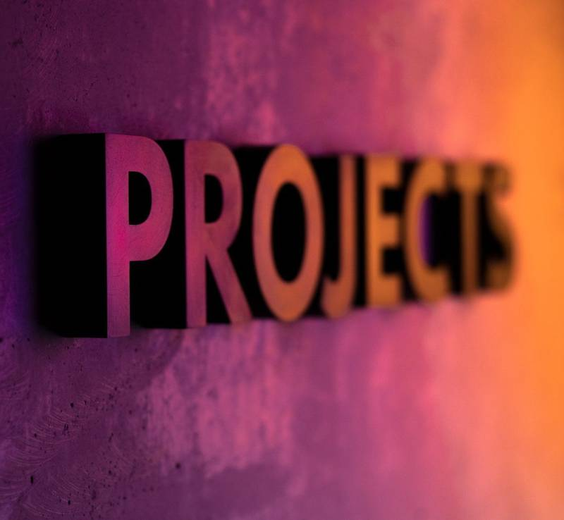 Projects lettering, lighting with colored gels