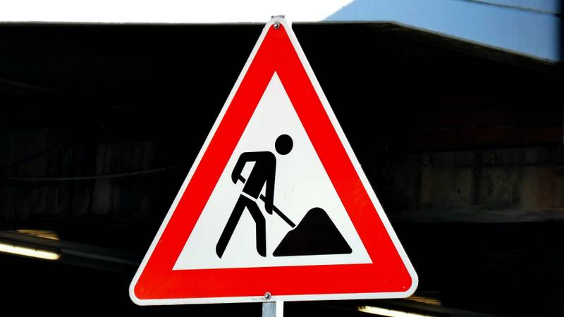 Road sign: construction ahead. For whatever is under construction or work in progress :-)
