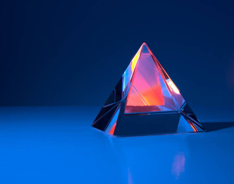 Fire and Ice:  Crystal Pyramid photographed in studio.   I'm using this as my latest Desktop Wallpaper at work, the simple dark background makes finding desktop icons very easy! [8/20/2020]