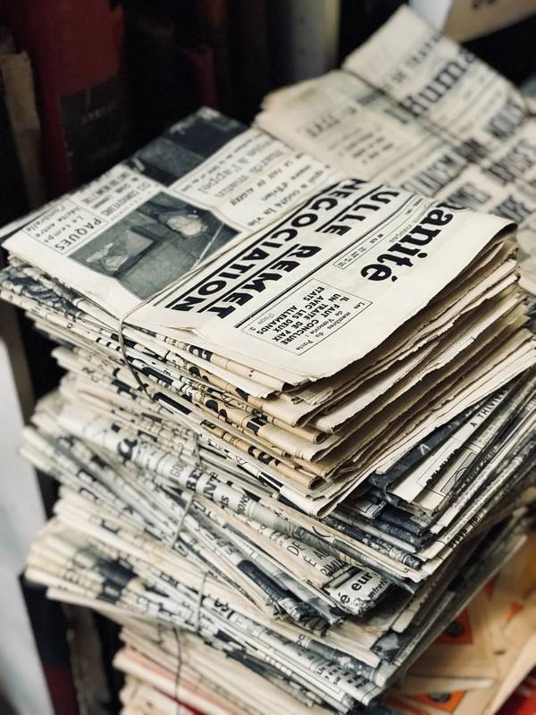 A stack of old newspapers