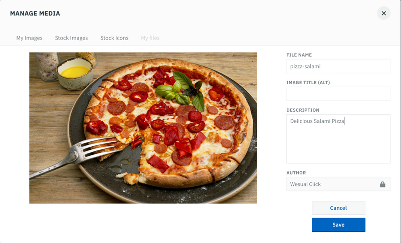 Oidom Manage Media with pizza image