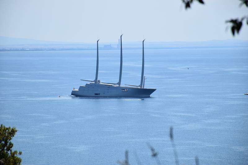 "Philippe Starck designed ""Sailing Yacht A"" off the coast of Monte Argentario, Tuscany, Italy."